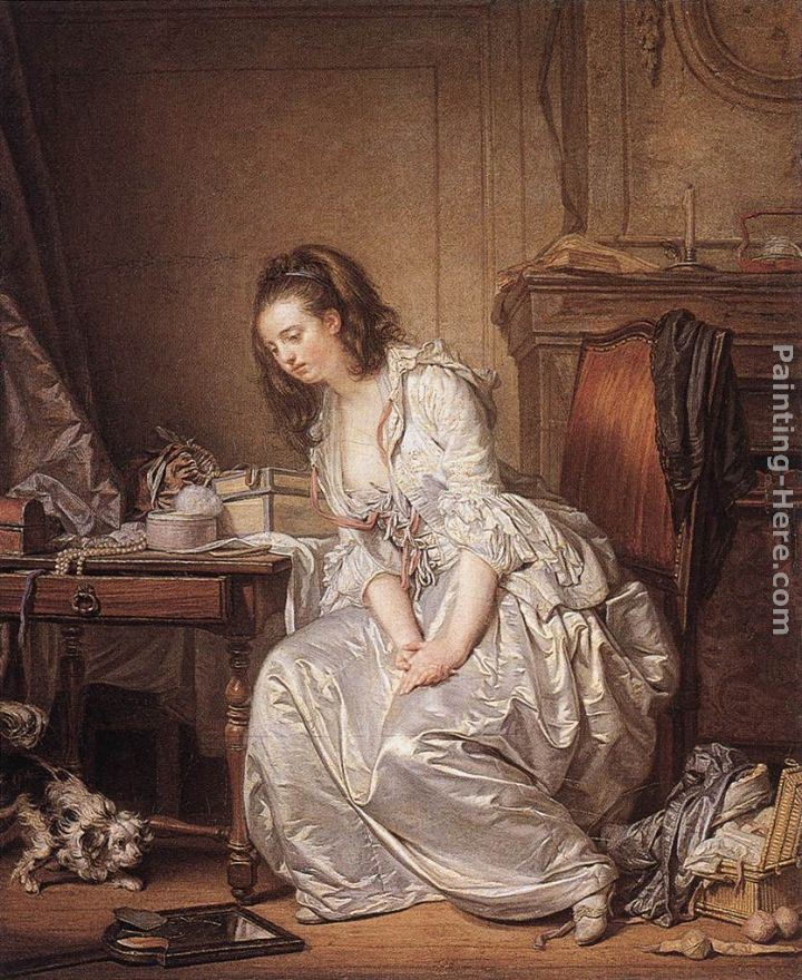 The Broken Mirror painting - Jean Baptiste Greuze The Broken Mirror art painting