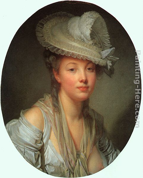 Young Woman in a White Hat painting - Jean Baptiste Greuze Young Woman in a White Hat art painting