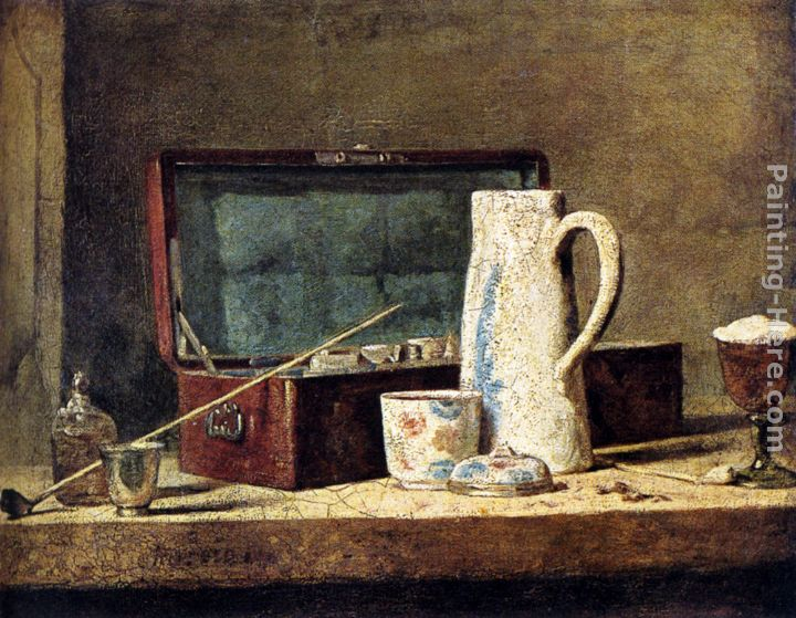 Jean Baptiste Simeon Chardin Pipes And Drinking Pitcher Art Painting