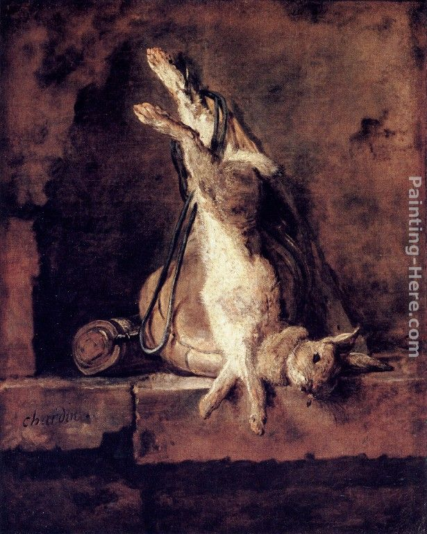 Jean Baptiste Simeon Chardin Rabbit with Game-bag and Powder Flask Art Painting