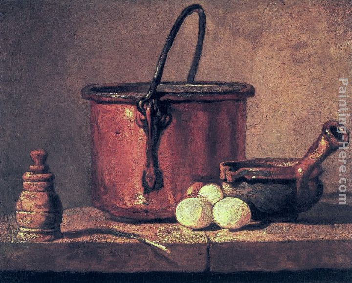 Still Life with Copper Cauldron and Eggs painting - Jean Baptiste Simeon Chardin Still Life with Copper Cauldron and Eggs art painting