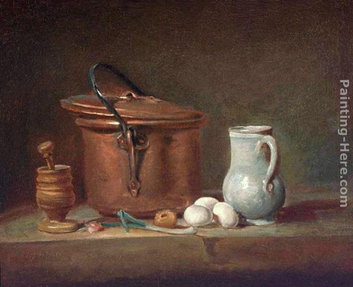 Still Life with Copper Pan and Pestle and Mortar painting - Jean Baptiste Simeon Chardin Still Life with Copper Pan and Pestle and Mortar art painting