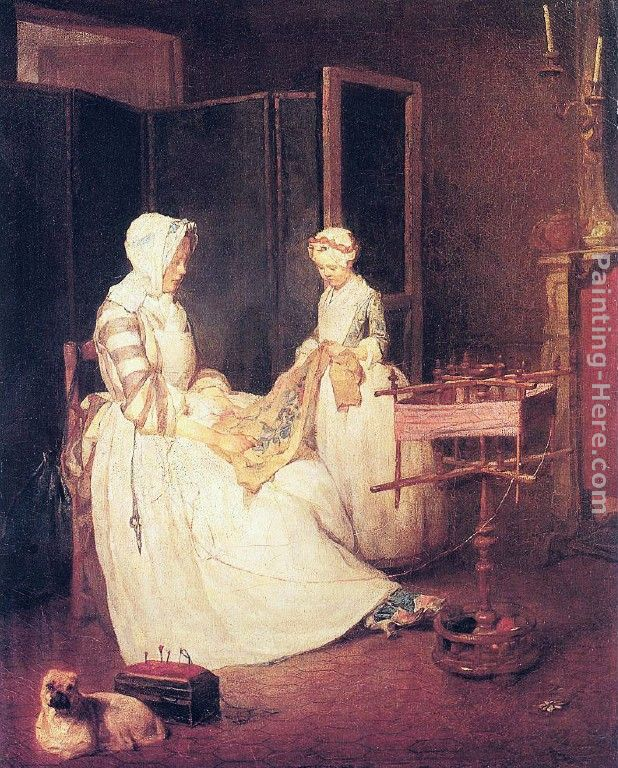 The Diligent Mother painting - Jean Baptiste Simeon Chardin The Diligent Mother art painting