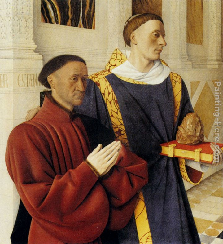Etienne Chevalier With St. Stephen (panel of the Melun Diptych) painting - Jean Fouquet Etienne Chevalier With St. Stephen (panel of the Melun Diptych) art painting