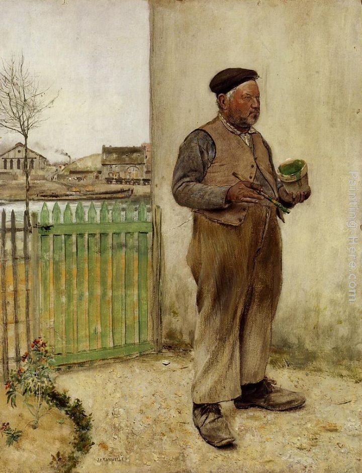 Man Having Just Painted His Fence painting - Jean Francois Raffaelli Man Having Just Painted His Fence art painting