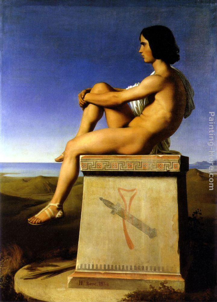 Jean Hippolyte Flandrin Polites, Son of Priam, Observes the Movements of the Greeks Art Painting
