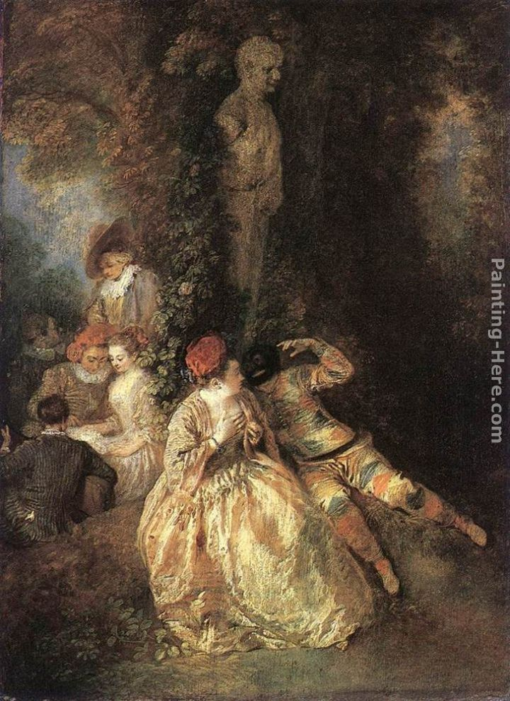 Harlequin and Columbine painting - Jean-Antoine Watteau Harlequin and Columbine art painting