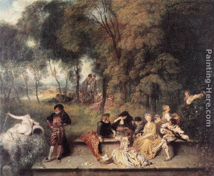 Merry Company in the open air painting - Jean-Antoine Watteau Merry Company in the open air art painting