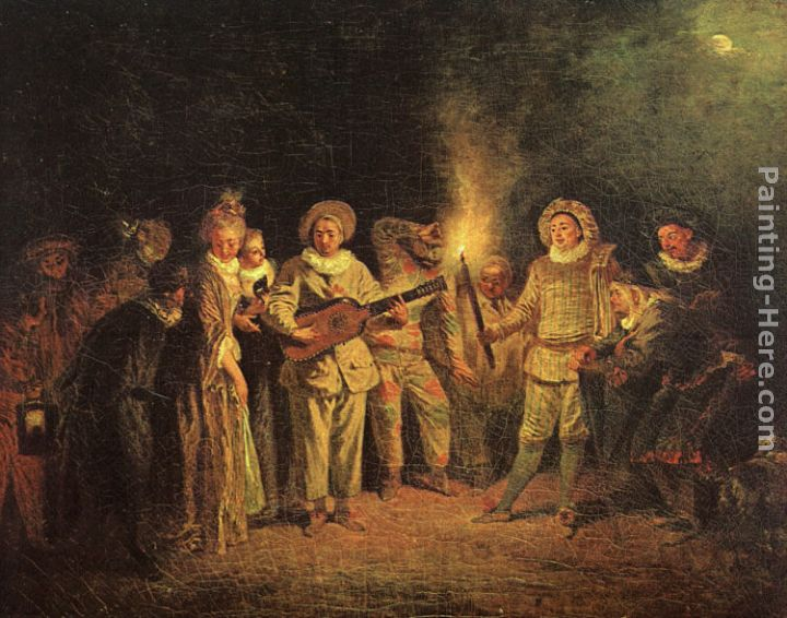 The Italian Comedy painting - Jean-Antoine Watteau The Italian Comedy art painting