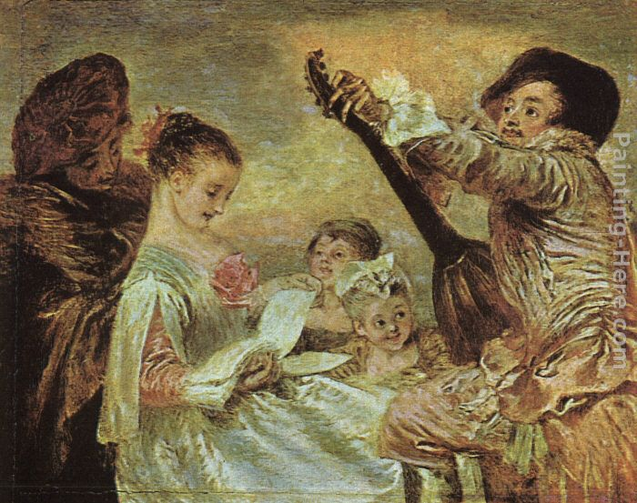 Jean-Antoine Watteau The Music Lesson Art Painting