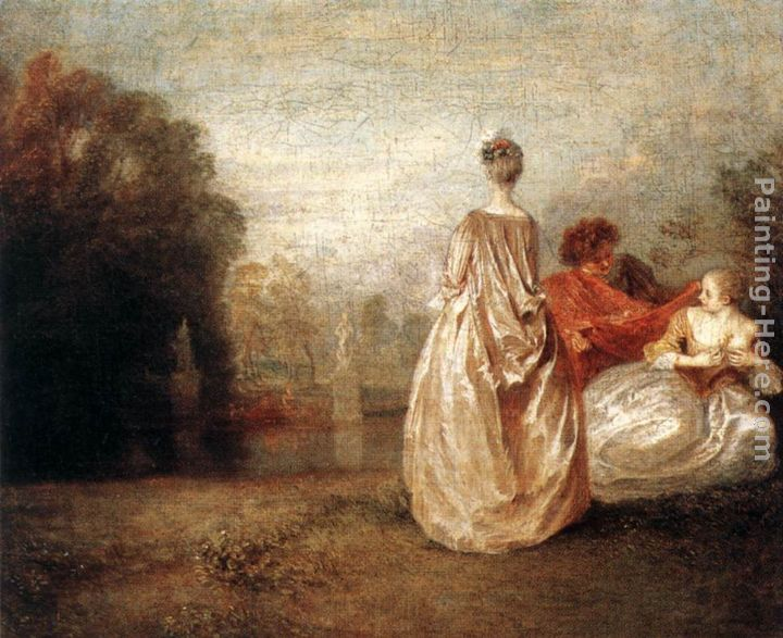 Jean-Antoine Watteau Two Cousins Art Painting