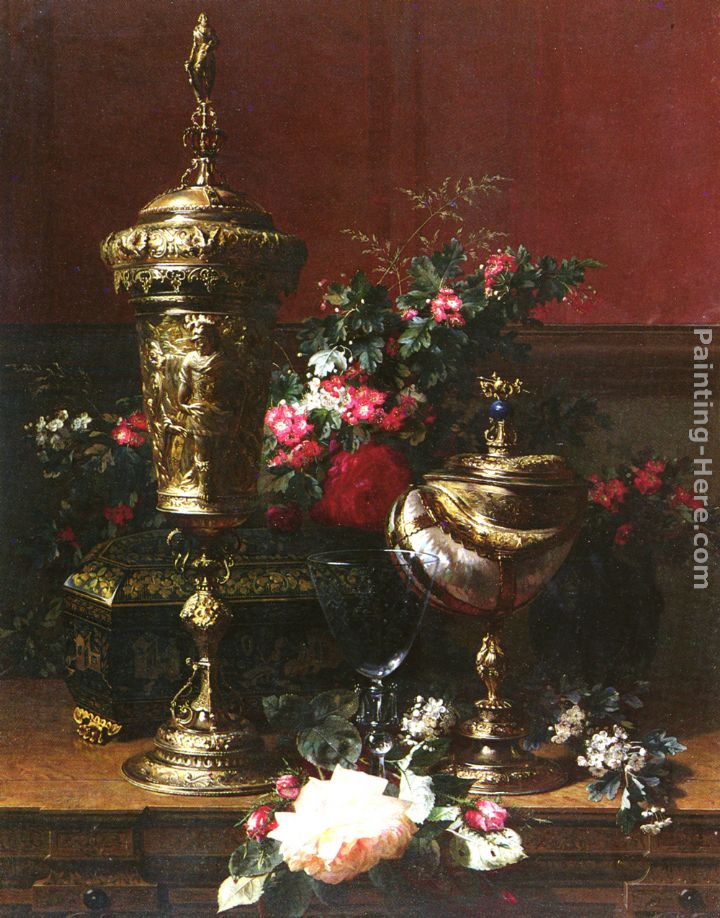 A Still Life With A German Cup, A Nautilus Cup, A Goblet An Cut Flowers On A Table painting - Jean-Baptiste Robie A Still Life With A German Cup, A Nautilus Cup, A Goblet An Cut Flowers On A Table art painting