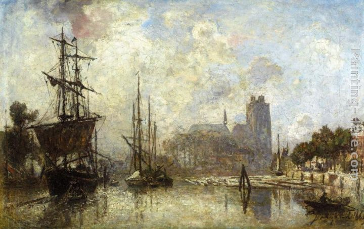 The Port of Dordrecht painting - Johan Barthold Jongkind The Port of Dordrecht art painting