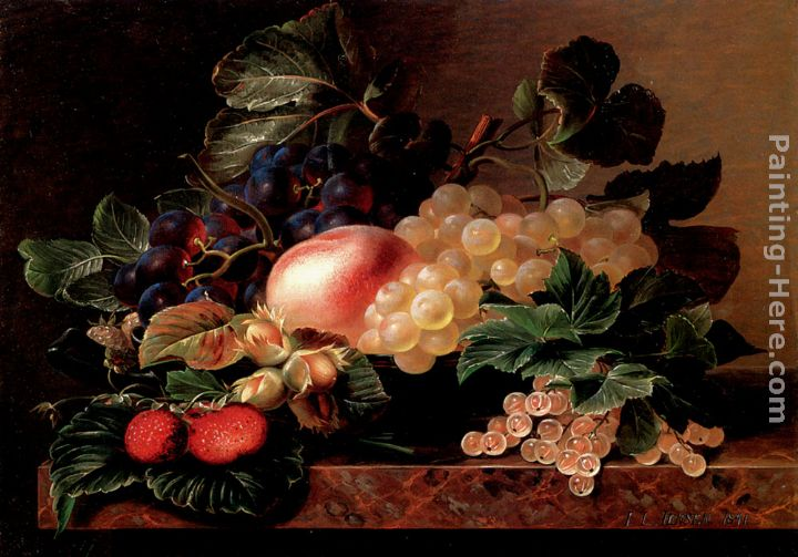 Grapes, Strawberries, a Peach, Hazelnuts and Berries in a Bowl on a marble Ledge painting - Johan Laurentz Jensen Grapes, Strawberries, a Peach, Hazelnuts and Berries in a Bowl on a marble Ledge art painting