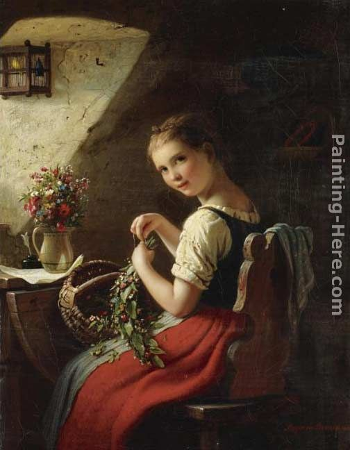 Johann Georg Meyer von Bremen Making a Bouquet Art Painting