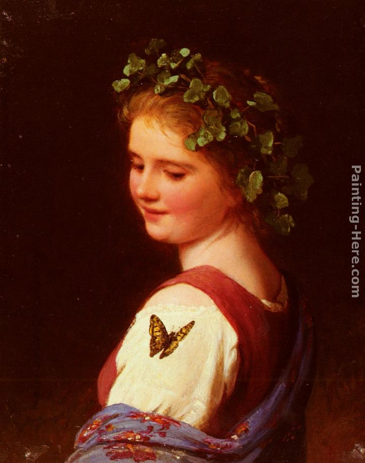 The Butterfly painting - Johann Georg Meyer von Bremen The Butterfly art painting