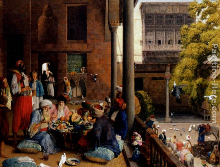 The midday meal, Cairo painting - John Frederick Lewis The midday meal, Cairo art painting