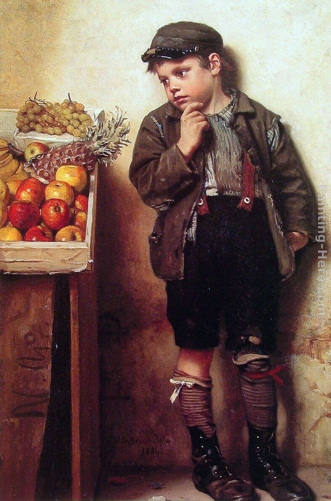 Eyeing the Fruit Stand painting - John George Brown Eyeing the Fruit Stand art painting