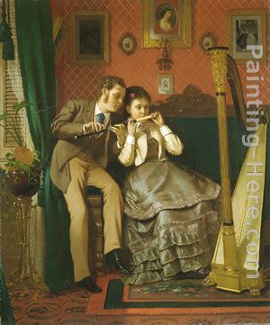 The Music Lesson painting - John George Brown The Music Lesson art painting