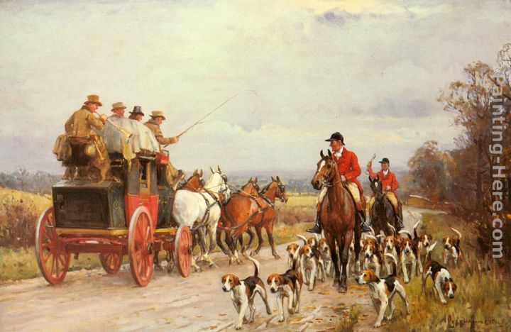 A Hunt Passing a Coach painting - John Sanderson Wells A Hunt Passing a Coach art painting