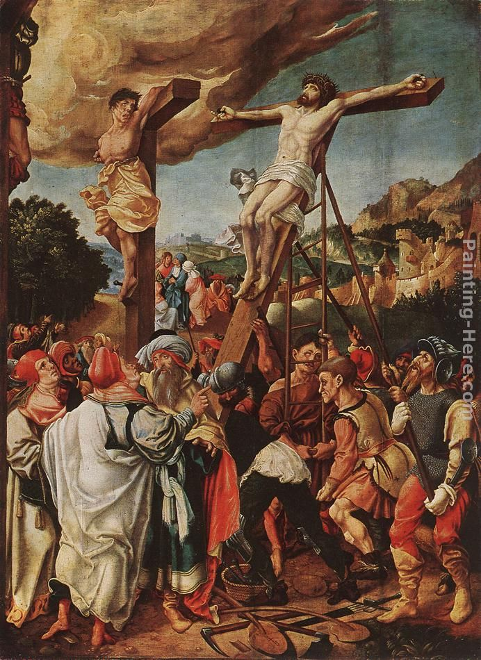 Crucifixion painting - Jorg Breu the Elder Crucifixion art painting