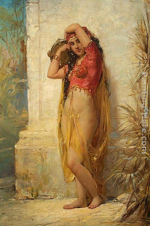 Harem Girl with Tambourine painting - Joseph Bernard Harem Girl with Tambourine art painting