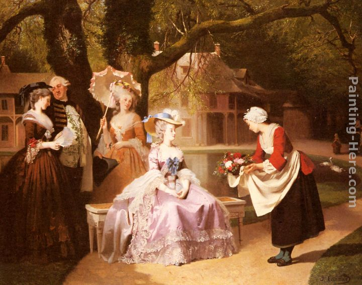 Marie Antoinette and Louis XVI in the Garden of the Tuileries with Madame Lambale painting - Joseph Caraud Marie Antoinette and Louis XVI in the Garden of the Tuileries with Madame Lambale art painting