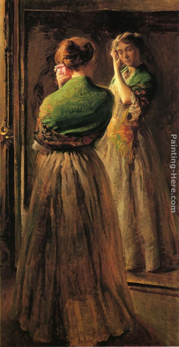 Girl with a Green Shawl painting - Joseph Rodefer de Camp Girl with a Green Shawl art painting