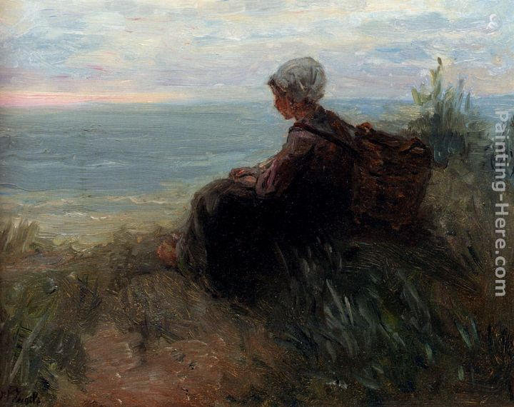 Jozef Israels A Fishergirl On A Dunetop Overlooking The Sea Art Painting