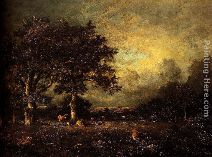 Landscape with Cows painting - Jules Dupre Landscape with Cows art painting