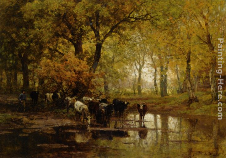 Watering Cows in a Pond painting - Julius Jacobus Van De Sande Bakhuyzen Watering Cows in a Pond art painting