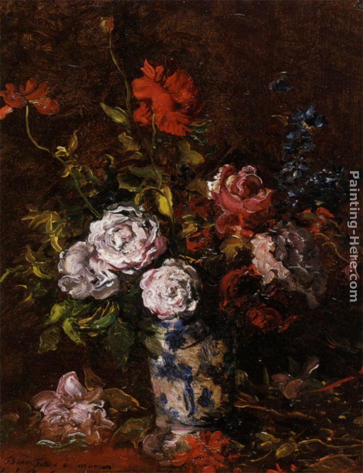 Karl Pierre Daubigny Floral Still Life In A Blue And White Porcelain