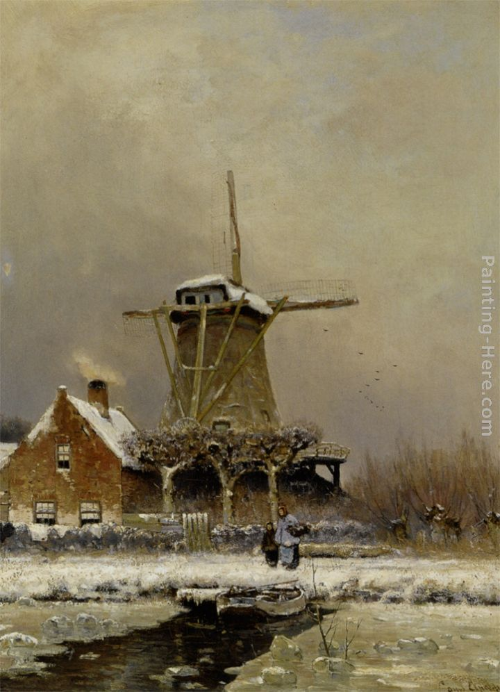 Figures by a windmill in a snow covered landscape painting - Louis Apol Figures by a windmill in a snow covered landscape art painting