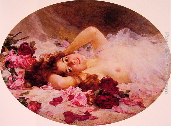 Beauty amid Rose Petals painting - Louis Marie de Schryver Beauty amid Rose Petals art painting
