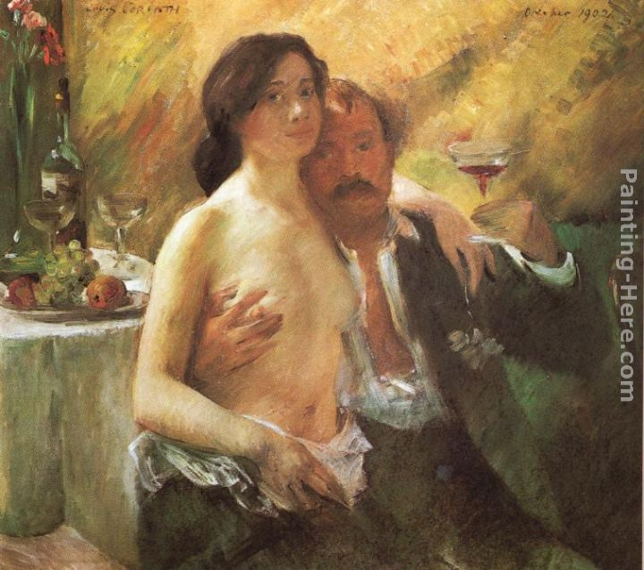 Lovis Corinth Self portrait with his Wife and a Glass of Champagne Art Painting