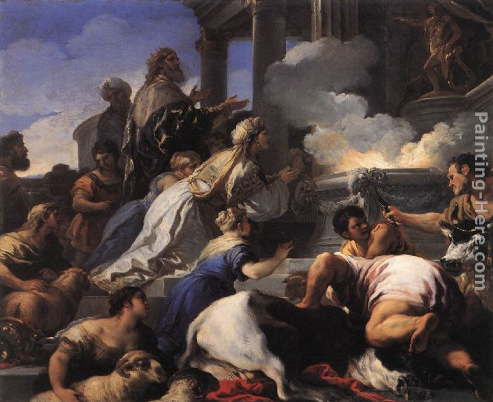 Psyche's Parents Offering Sacrifice to Apollo painting - Luca Giordano Psyche's Parents Offering Sacrifice to Apollo art painting