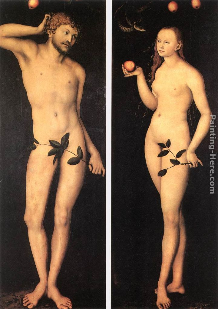 Adam and Eve painting - Lucas Cranach the Elder Adam and Eve art painting