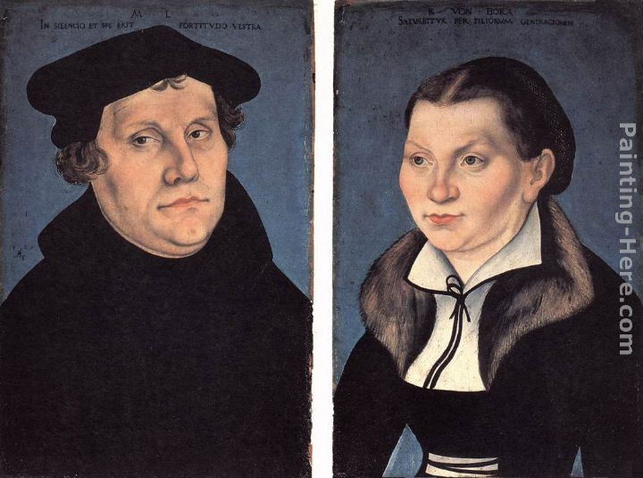 Diptych with the Portraits of Luther and his Wife painting - Lucas Cranach the Elder Diptych with the Portraits of Luther and his Wife art painting