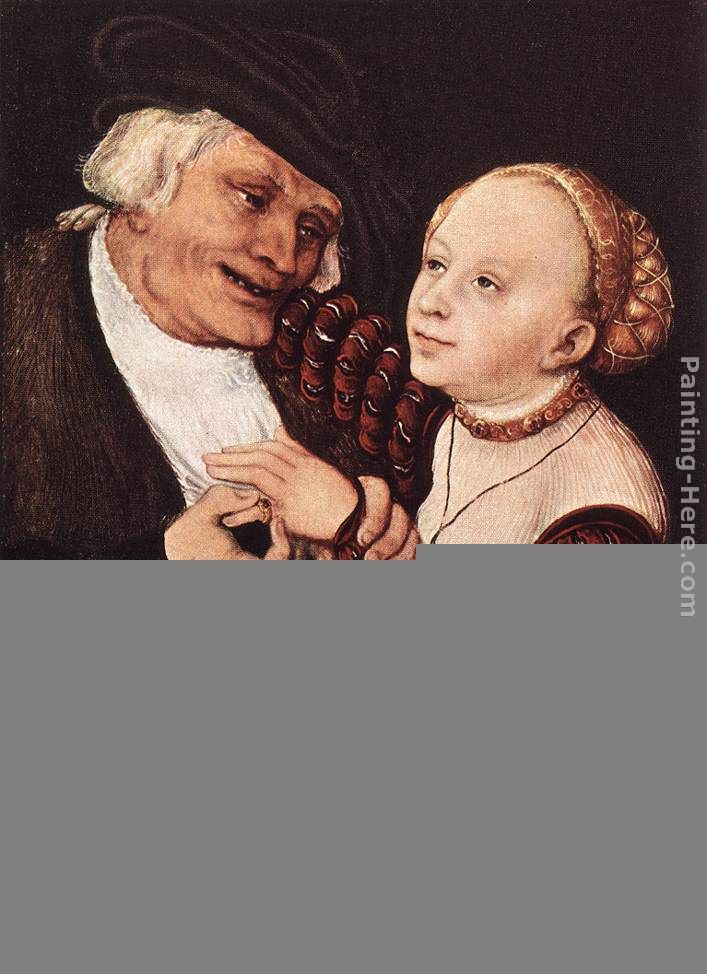 Old Man and Young Woman painting - Lucas Cranach the Elder Old Man and Young Woman art painting