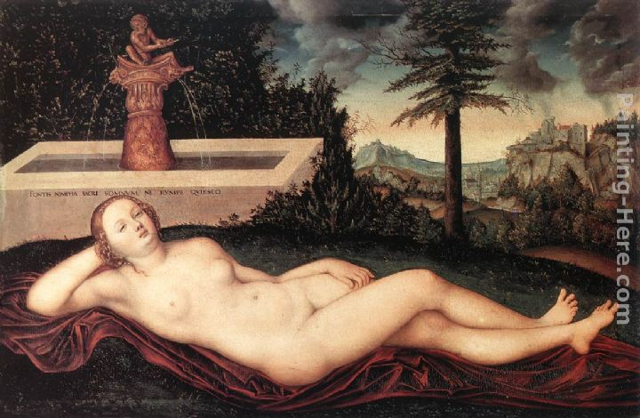 Lucas Cranach the Elder Reclining River Nymph at the Fountain Art Painting