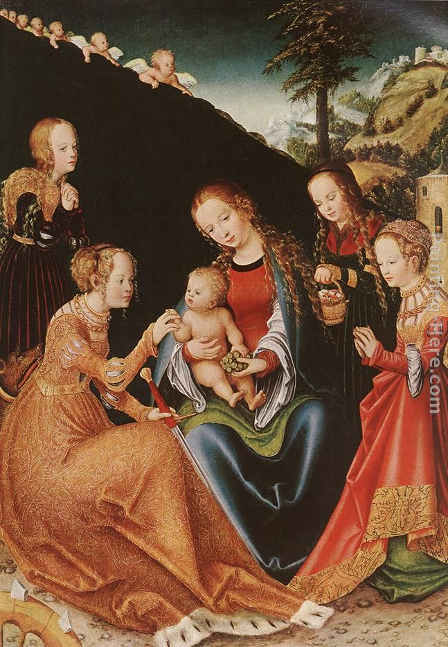 Lucas Cranach the Elder The Mystic Marriage of St Catherine Art Painting