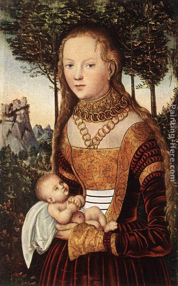 Young Mother with Child painting - Lucas Cranach the Elder Young Mother with Child art painting