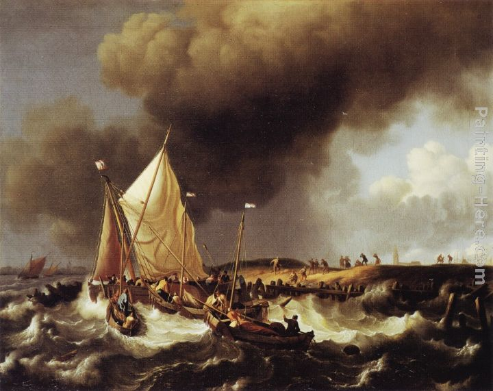 Ludolf Backhuysen Boats in a Storm Art Painting