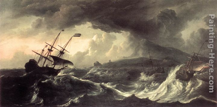 Ships Running Aground in a Storm painting - Ludolf Backhuysen Ships Running Aground in a Storm art painting
