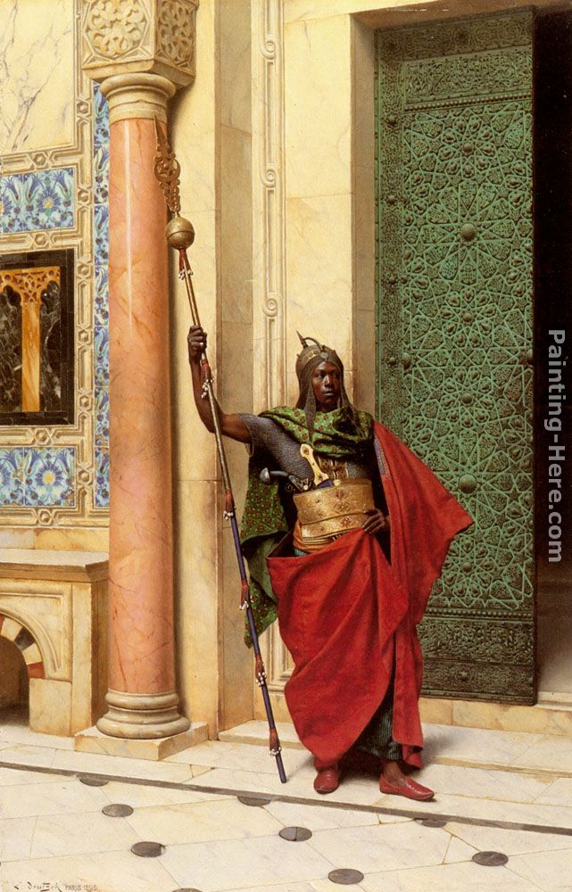 A Nubian Guard painting - Ludwig Deutsch A Nubian Guard art painting