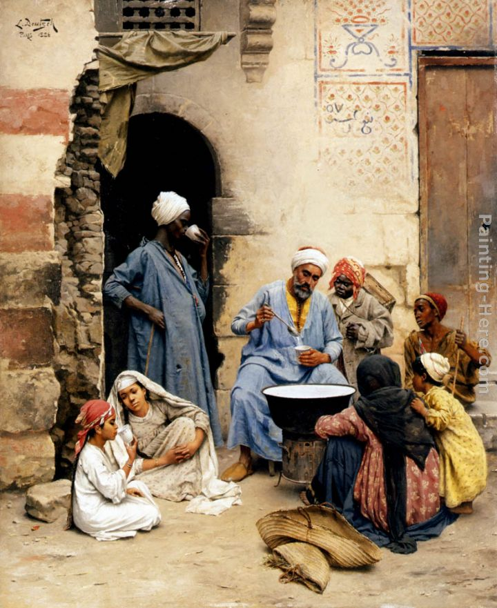 The sahleb vendor, Cairo painting - Ludwig Deutsch The sahleb vendor, Cairo art painting