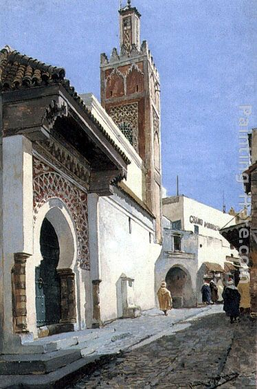 A Street Scene with a Mosque, Tangier painting - Manuel Garcia y Rodriguez A Street Scene with a Mosque, Tangier art painting