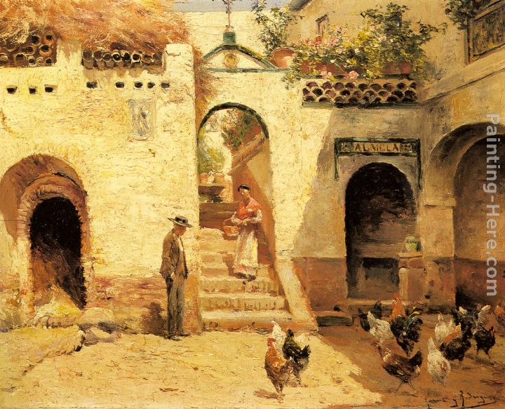 Feeding Poultry in a Courtyard painting - Manuel Garcia y Rodriguez Feeding Poultry in a Courtyard art painting