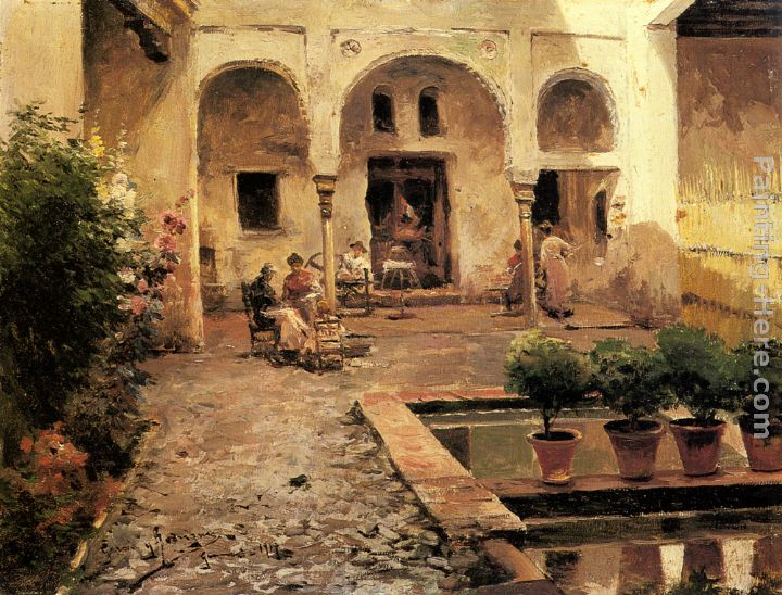 Figures in a Spanish Courtyard painting - Manuel Garcia y Rodriguez Figures in a Spanish Courtyard art painting