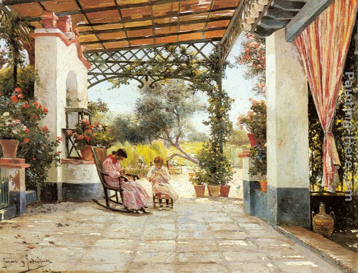 Manuel Garcia Y Rodriguez Mother And Daughter Sewing On A Patio - Patio painting